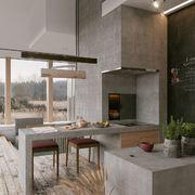 Cocina con paredes de microcemento