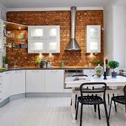 cocina pared ladrillo visto