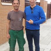 Con Carlos Baute antes de empezar renovacion jardín