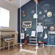 dormitorio con pared de pizarra