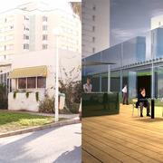 Infografía de antes y después de la reforma en fachada principal