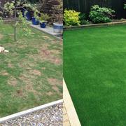 Jardin con cesped artificial. Antes y Después