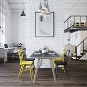 Loft en blanco, gris y amarillo
