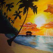 Decoración de dibujos en pasillos y comedor de paisaje marítimo y bosque con pinturas decorativas