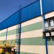 Pintura exterior nave industrial, chapas y escalera