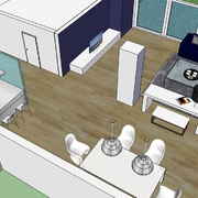 Propuesta digital para la reforma del salón, cocina, terraza y comerdor.