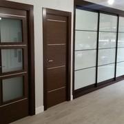 Puertas color wengue combinadas con perfileria plata y armario de cristal