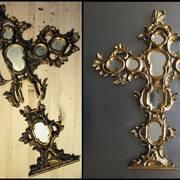 Restauración de arte cruz con espejos
