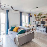 Salón, comedor, cocina y despacho en un mismo espacio