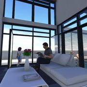Salón en doble altura dando a patio interior y terraza trasera