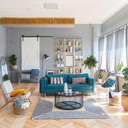Salón en tonalidades azules