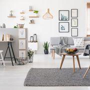 Salón estilo nórdico y zona para trabajar