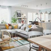Salón moderno con sofá en L