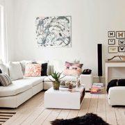 salón suelo madera, paredes blancas