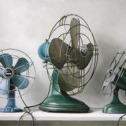 3 ventiladores vintage azules