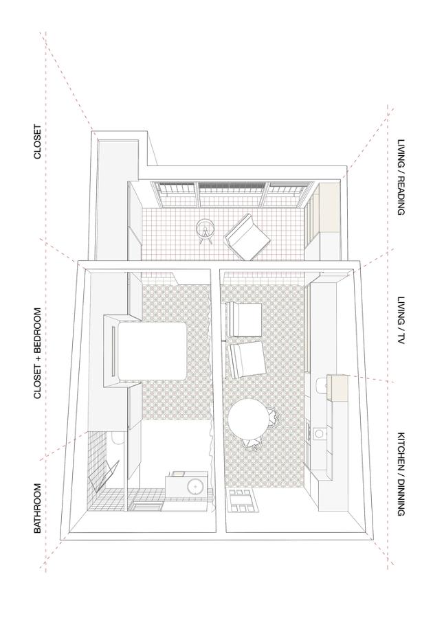 Plano esquema espacial vivienda