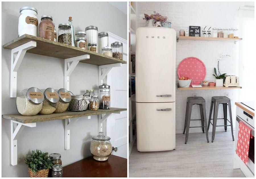 Foto decorar con baldas en la cocina de momocca deco for Ideas para decorar pared cocina