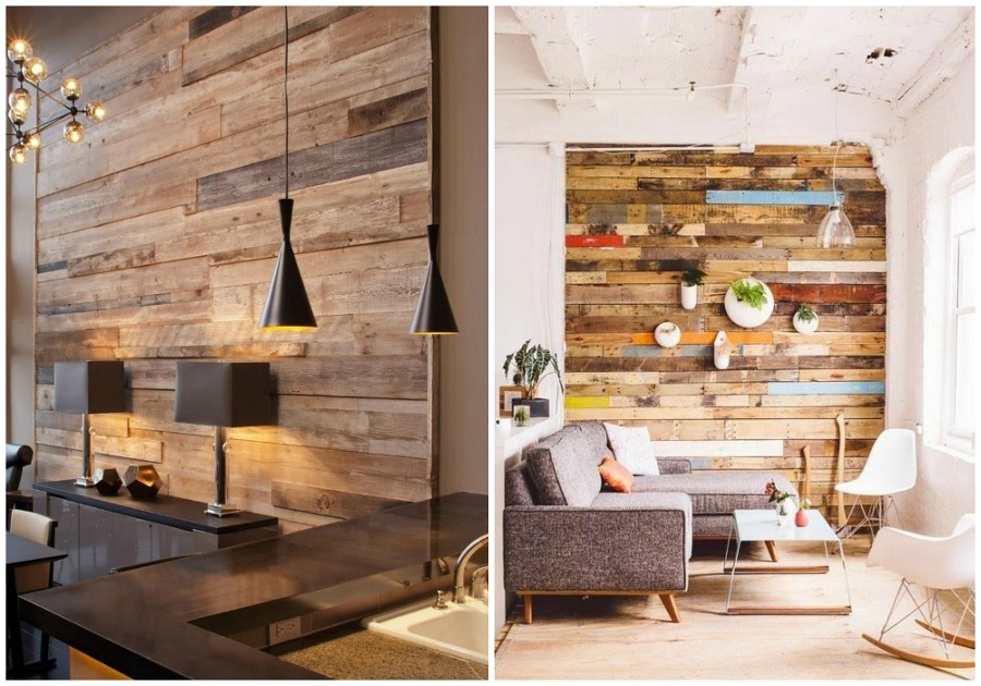 Foto 02 forrar una pared con madera reciclada de ecodeco - Madera para paredes interiores ...