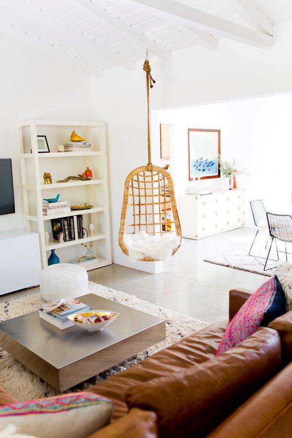 salón boho de una casa española