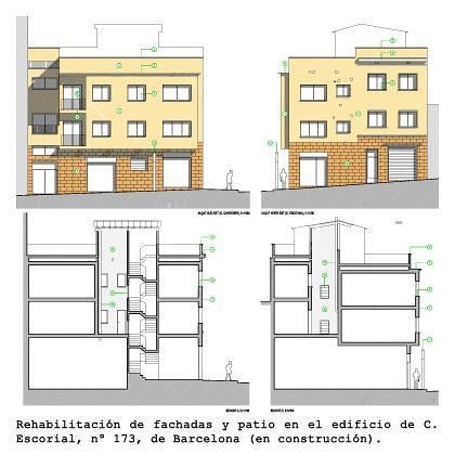 Rehabilitacion de fachada y patio interior de un edificio en el barrio de Gracia