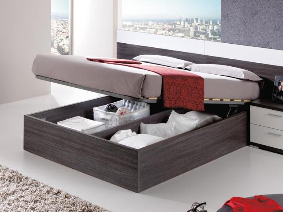 C mo aprovechar el espacio con las camas con canap for Dormitorio matrimonio cama canape
