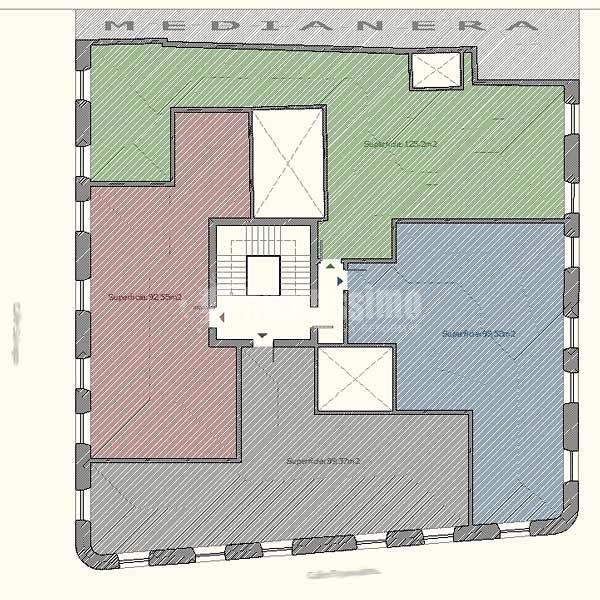 Proyecto división una planta de edificio antiguo en  varios pisos