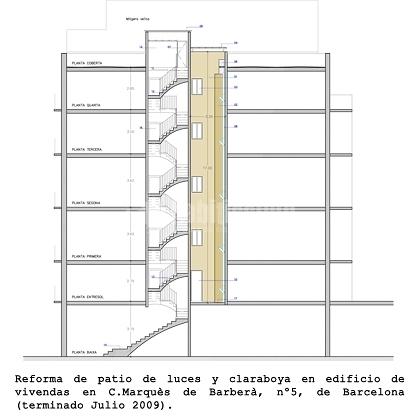 Rehabilitación de Patio Interior de un Edificio en el Barrio del Raval