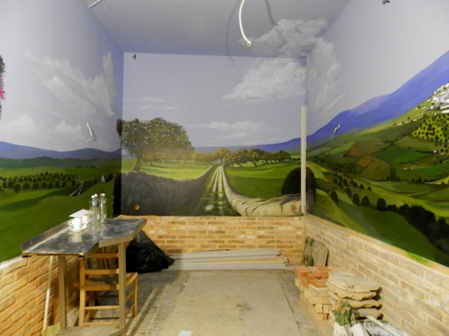 "2013: Pintura Mural 30 m2, Restaurante ""Cumbres Mayores"". Cádiz."
