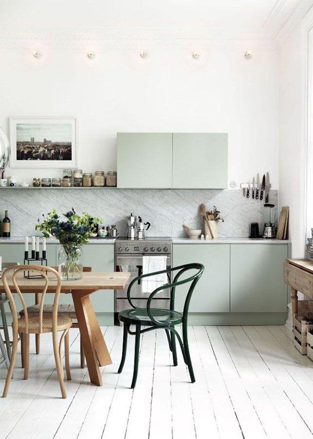mueble cocina turquesa