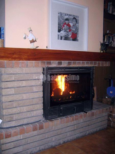 Chimenea insertable aplicada en antigua chimenea de hogar abierto barcelona modelo panorama - Chimeneas barcelona ...