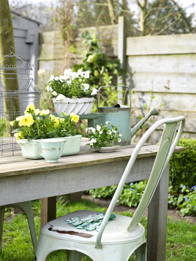 silla jardín turquesa