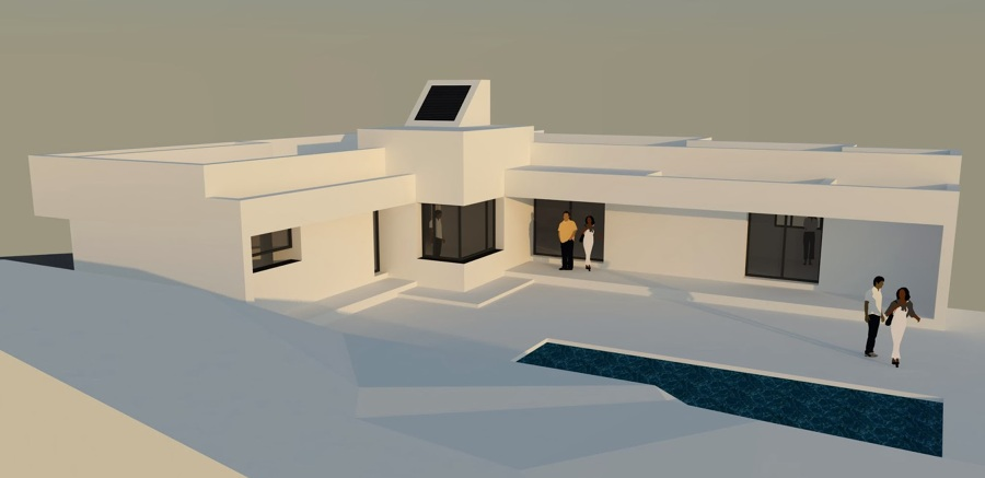3D ANTERIOR A OBRA DE VIVIENDA UNIFAMILIAR AISLADA