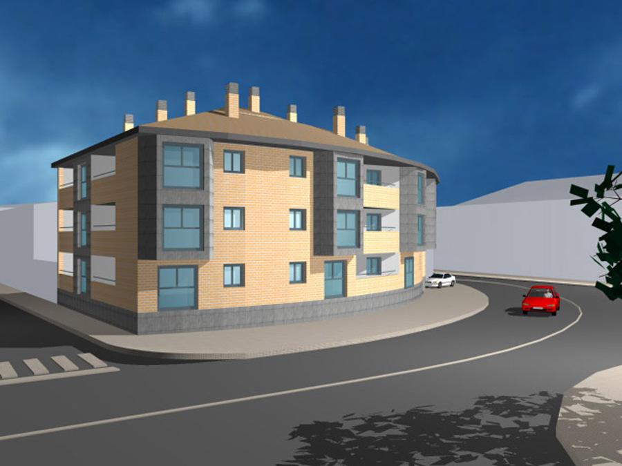 3D Edificio Zaragoza en Zuera.