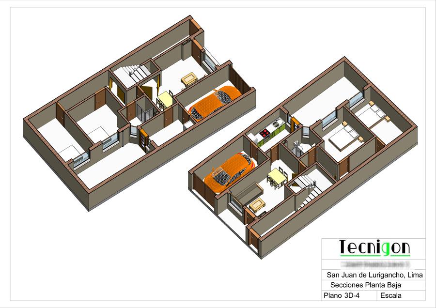 3D secciónes en planta baja