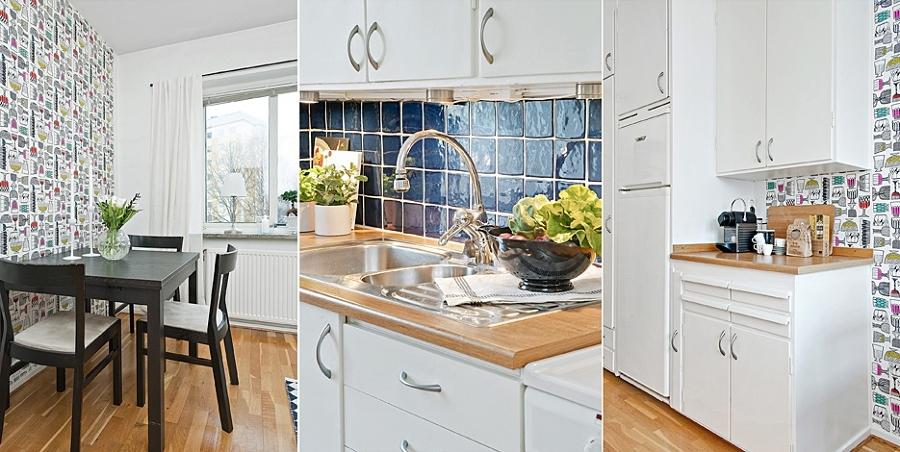 Foto cocina azulejos azules papel pintado de boho chic - Alicatados de cocinas ...