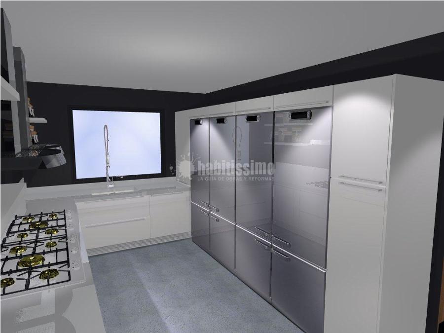 Cocina, bancos, taburetes y barra de un nuevo restaurante
