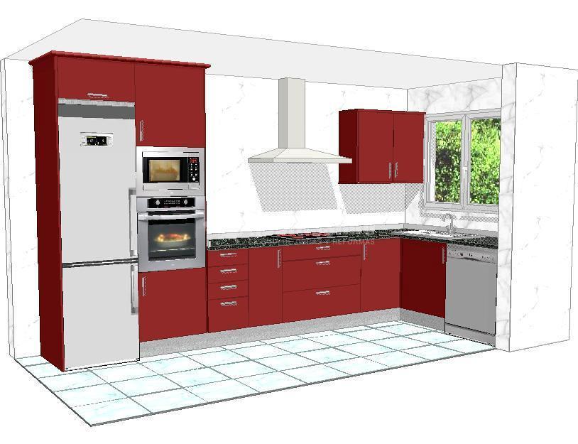 Cocina burdeos ideas muebles for Muebles de cocina en l