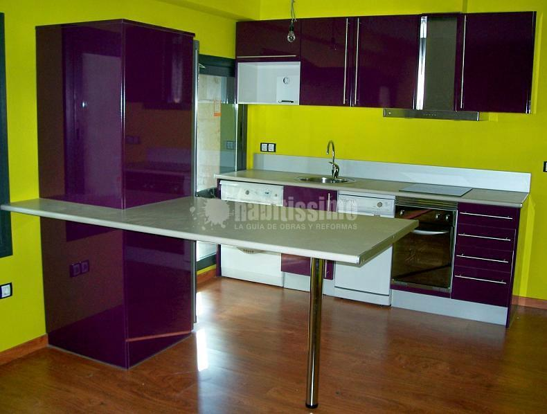 Muebles de cocina Berenjena Brillo
