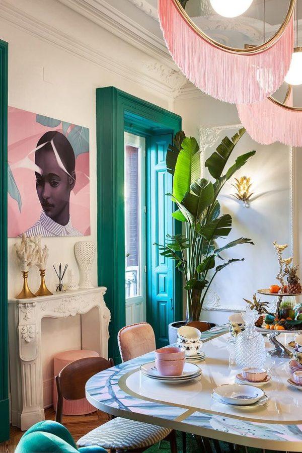 9. Rosa palo + estilo tropical