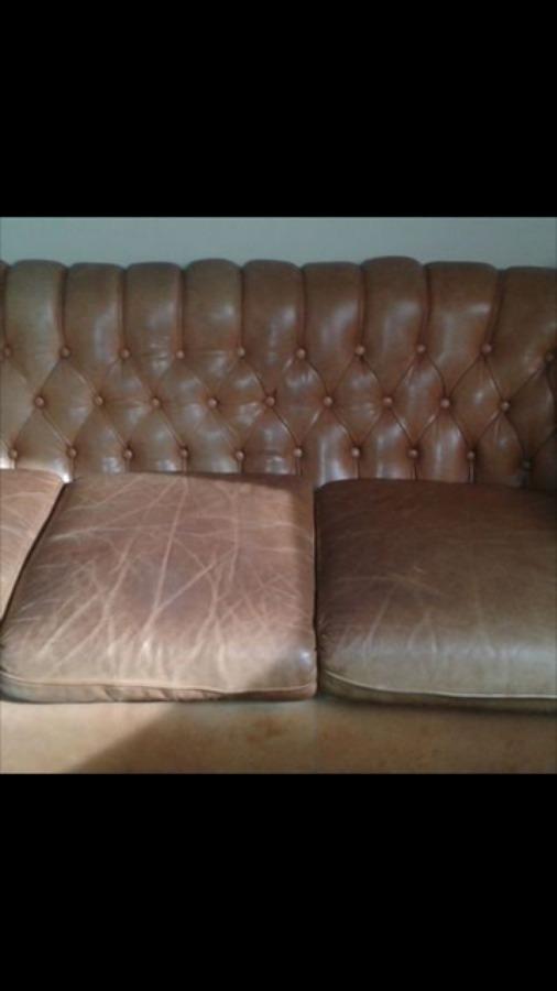 Restauraci n de un sof de piel tipo chester ideas limpieza - Como hidratar un sofa de piel ...