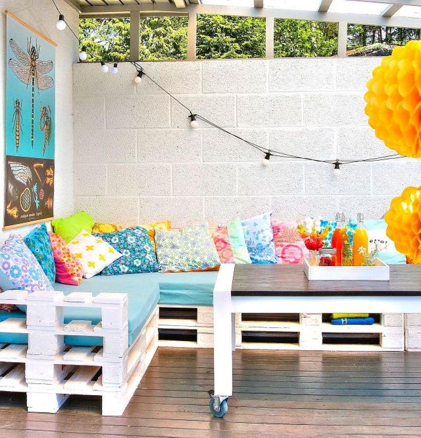 Eres fan de los palets mira todo lo que puedes hacer - Muebles pintados de colores ...