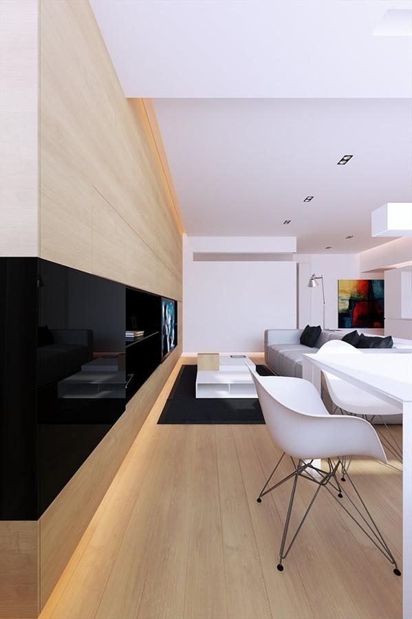 salón moderno con madera