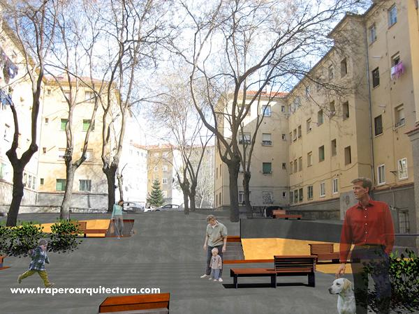 Acondicionamiento Patios y espacios Barrio San José. Segovia. Concurso. 2006