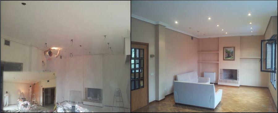 Alisar paredes y techos, colocacion focos en el techo y estanterias pladur