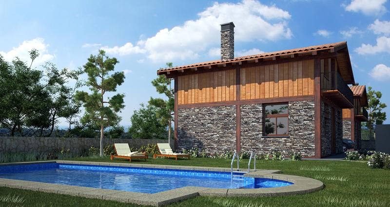 Alzado lateral con piscina