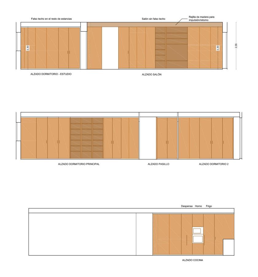 Alzados de estancias y muebles diseñados para la nueva vivienda