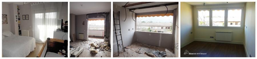 Ampliación de dormitorio hacia terraza