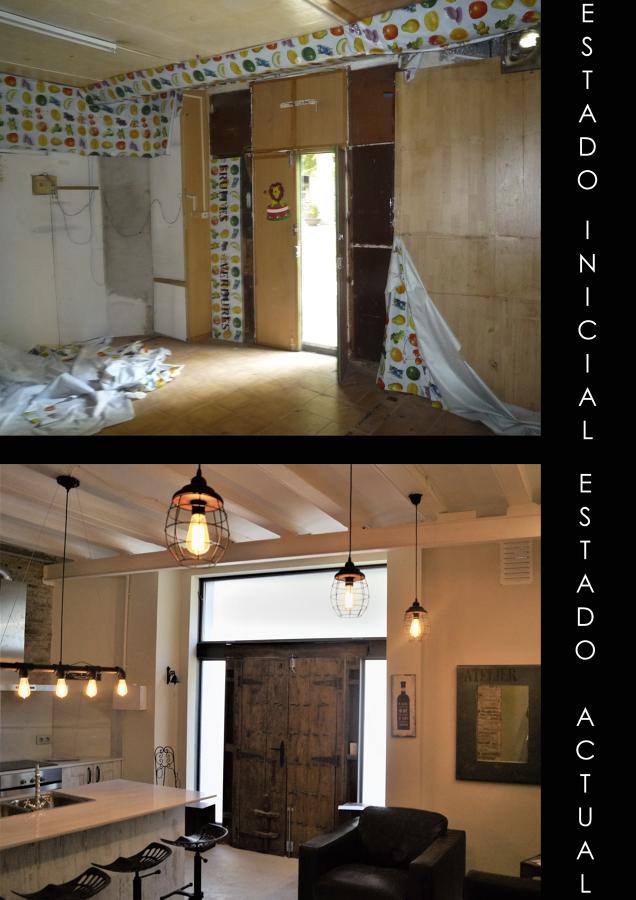 Antes y después cocina/salón