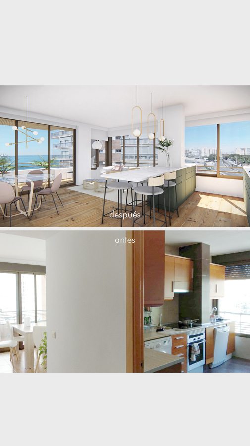 Antes y después: cocina-salón
