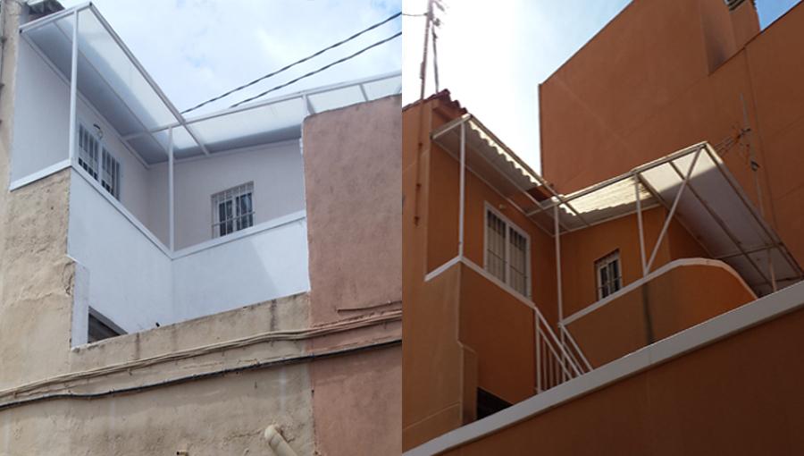 Antes y después de fachada posterior de edificio rehabilitado